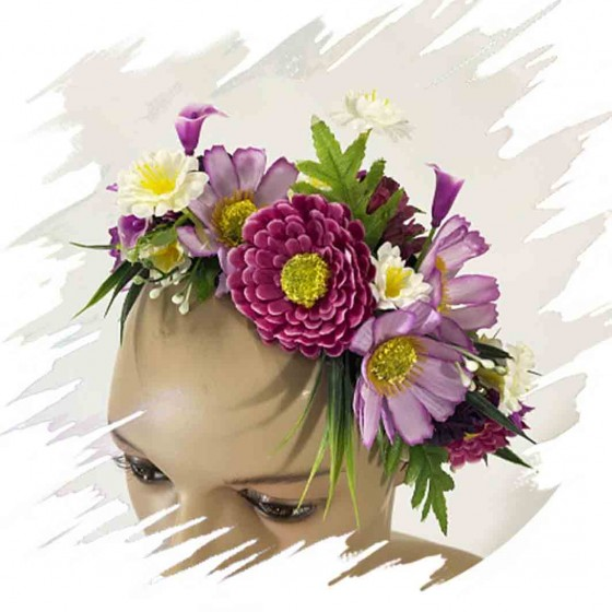 Lila Flowers Headband