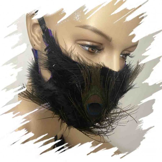 Black peacock face mask