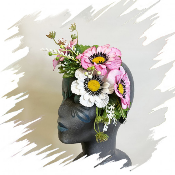 Pink Flowers Headband
