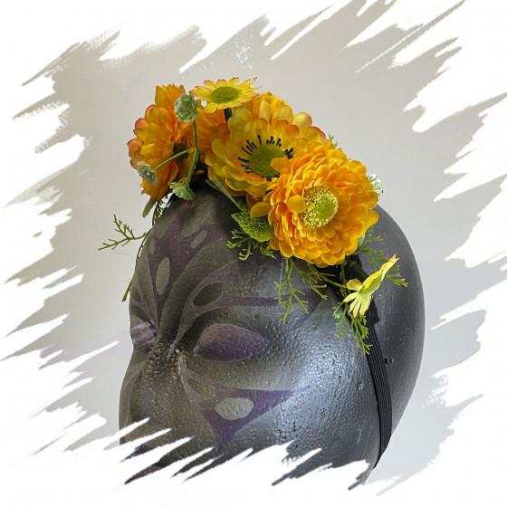 Mini diadema Flores amarilla